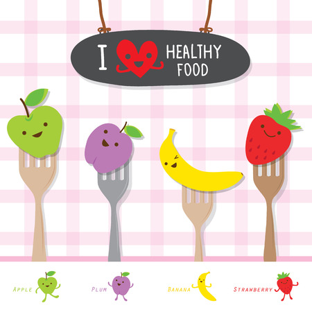 Healthy Food Fruit Diet Eat Useful Vitamin Cartoon Cute Vector Ilustracja
