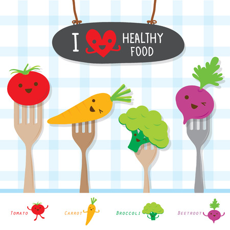 eat healthy: Healthy Food Vegetable Diet Eat Useful Vitamin Cartoon Cute Vector Illustration