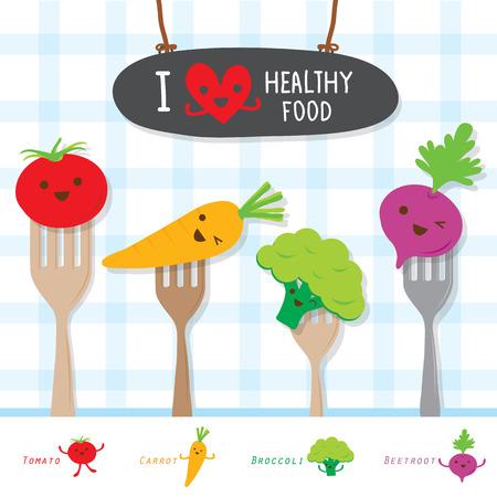 useful: Healthy Food Vegetable Diet Eat Useful Vitamin Cartoon Cute Vector Illustration