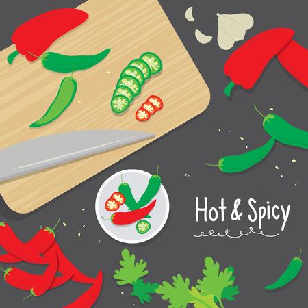 vegetable cook: Cook Ingredient Vegetable Spicy Slice Chili Pepper Cartoon Vector Illustration