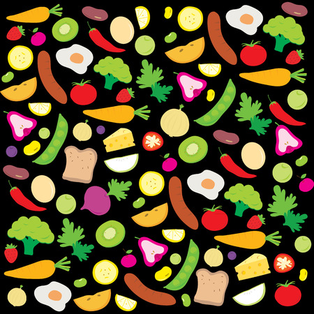 nutrient: Fruit Vegetable Healthy Food Cook Ingredient Nutrient cute cartoon vector Illustration