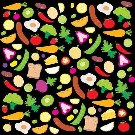 food ingredient: Fruit Vegetable Healthy Food Cook Ingredient Nutrient cute cartoon vector Illustration