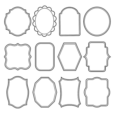 Blank frame and label mega set Vintage Retro Vector illustration Vettoriali