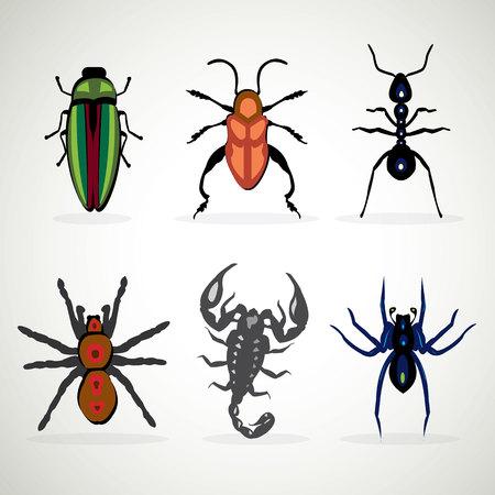 Insects animal dangerous icons set cartoon illustration 일러스트