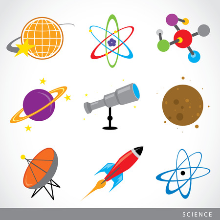 separating funnel: set of science stuff icon Universe Solar system Planet Rocket cartoon Vector Illustration