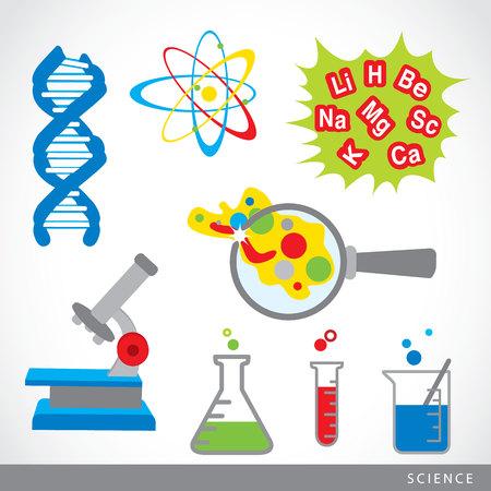과학 물건 아이콘 랩 만화 벡터의 집합 일러스트