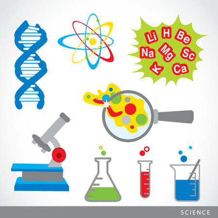 science lab: set of science stuff icon Lab cartoon vector
