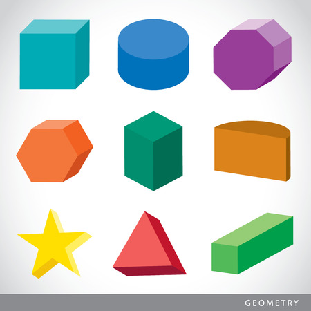Colorful set of geometric shapes, platonic solids, vector illustration