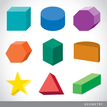 Colorful set of geometric shapes, platonic solids, vector illustration