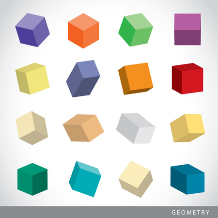 solids: Colorful set of geometric shapes, platonic solids, vector illustration