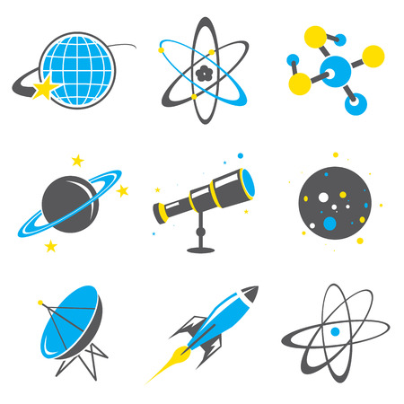 Science stuff icon Universe Solar system Planet Rocket Cartoon Vector Illustration