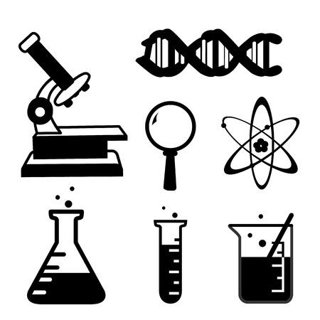 set van de wetenschap spul pictogram Lab cartoon pictogram vector Stock Illustratie