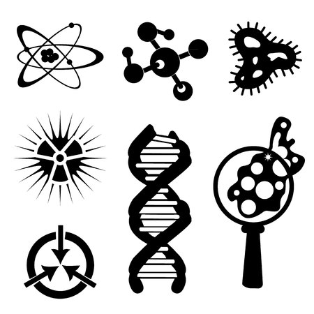set of science stuff icon Lab cartoon icon vector