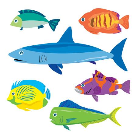 Tropical fish water animal vector cartoon