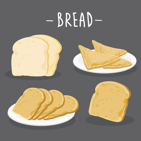 toasted bread: Toasted bread. Detailed Vector Icon. Series of food and drink and ingredients for cooking. Illustration