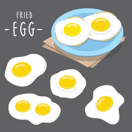 protien: Fried egg food cook meal Protien healthy breakfast morning cartoon vector
