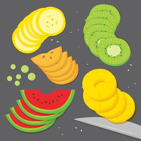 flay: Fruit food cook Banana Grape Kiwi Pineapple watermelon Persimmon fresh piece slice cartoon vector Illustration