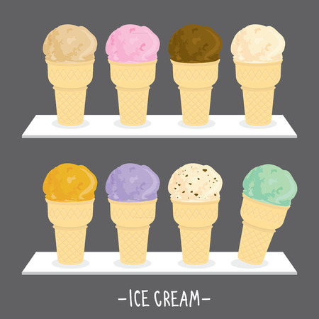 flavour: Ice cream menu cone scoop sweet flavour taste cartoon vector