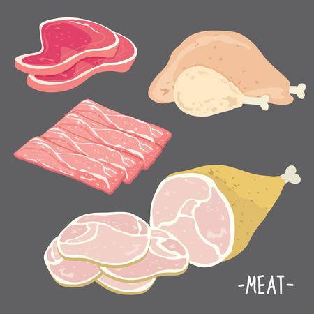 고기 음식 쇠고기 돼지 고기 베이컨 치킨 신선한 원시 조각 조각 만화 벡터를 먹고