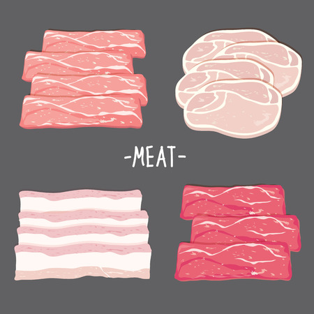 raw beef: Meat food eat beef pork bacon chicken fresh raw piece slice cartoon vector Illustration