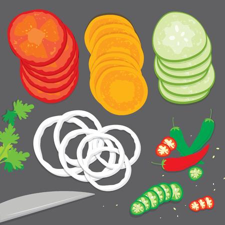 flay: Vegetable food cook tomato onion carrot chili cucumber parsley fresh piece slice cartoon vector Illustration