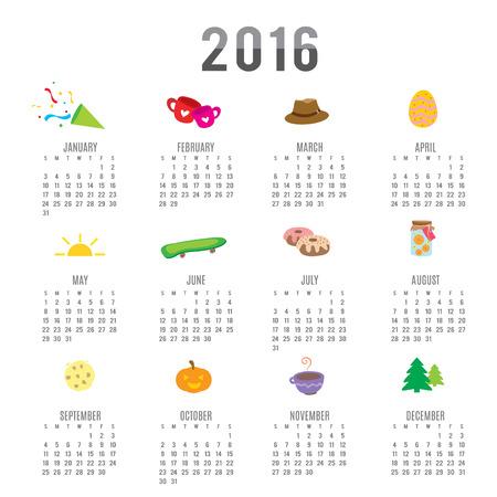 Calendar 2016 Cartoon Cute Vector