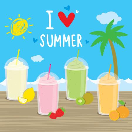 cocteles de frutas: Cócteles de verano de dibujos animados playa del mar zumo de fruta vacaciones vacaciones vector