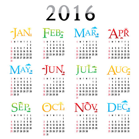 febuary: Happy New Year Calendar 2016 Vector Illustration