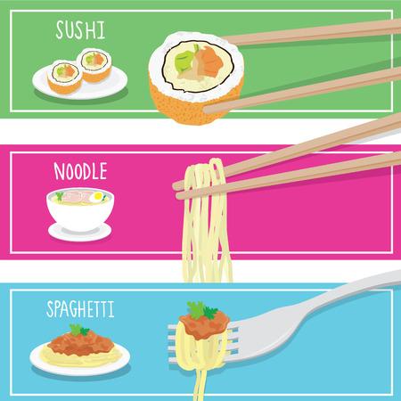 continental: International Food Sushi Noodle Spaghetti cartoon vector Illustration
