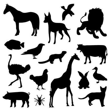 live action: Animal Farm Pet Wildlife Zoo Silhouettes Black Icon Vector