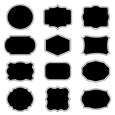 label frame: Blank frame and label mega set. Vector illustration.