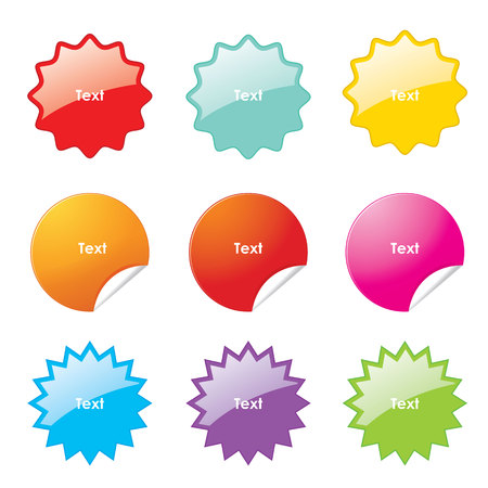 Set of multi-colours stickers with rounded corners in different shapes. Vector illustration. Ilustracja