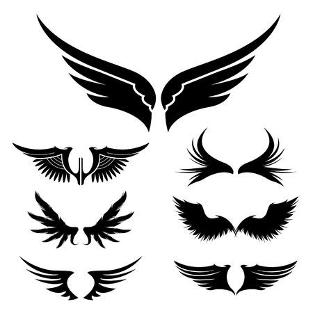 Vleugels. Set van design elementen. Vector illustratie.