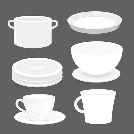 glass cup: Bowl Dish Plate Cup Tumbler Glass Tray Cartoon Vector