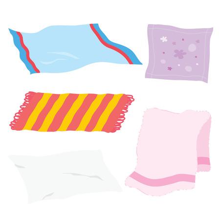 Carpet Towel Sheet Napkin Handkerchief Rag Fabric Cloth Cartoon Vector Vettoriali