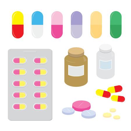 Drug Medicine Panel Pill Dose Capsule Heal Treatment Cartoon Vector Illustration