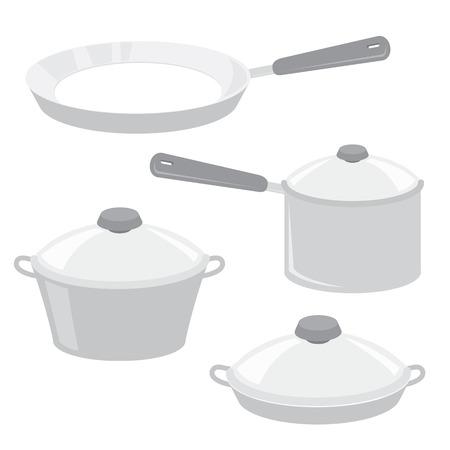 saucepan: Equipment Tool Kitchen Cook Pot Saucepan Frying Pan Boiler Cartoon