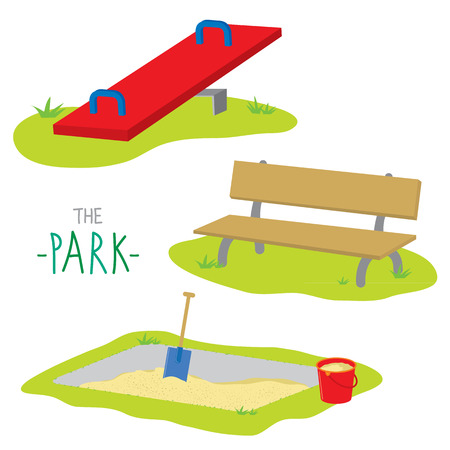 park bench: The Park Bench Sandpit Seesaw Activity Kid Relax Play Cartoon  Illustration