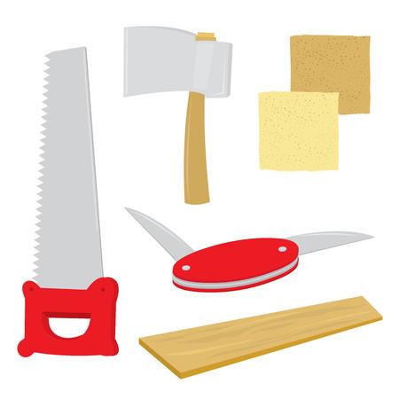 penknife: Equipment Tool Handcraft Saw Plank Sandpaper Axe Penknife Cartoon  Illustration