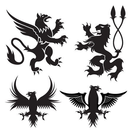 Ancient heraldic griffins symbols of black majestic beasts with body of lion, angel wings and eagle heads. For heraldic design or tattoo Vectores