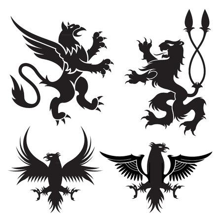 adler silhouette: Das alte Wappen Greife Symbole der schwarzen majestätischen Tiere mit Körper des Löwen, Engelsflügel und Adlerköpfe. Für heraldische Design oder Tätowierung
