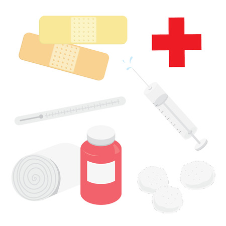 cotton wool: Medical Appliance Hospital Plaster Bandage Syringe Thermometer Cotton Wool Cartoon Vector