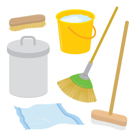 tatter: Equipment Tool Cleaner Housework Dustbin Brush Broom Mop Rag Bucket Cartoon Vector