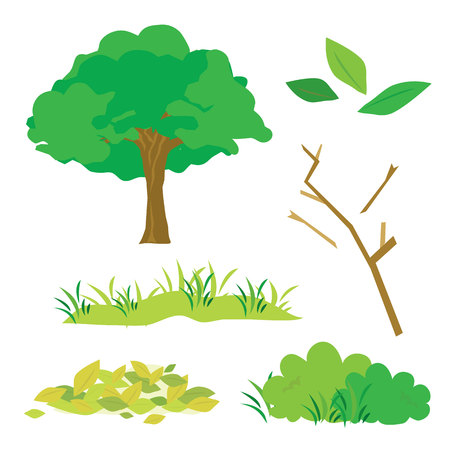 verdant: Tree Leaves Grass Bush Branch Flora Cartoon Vector