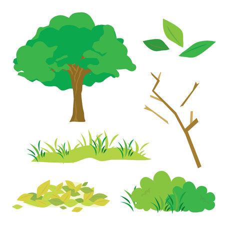 flora  vector: Tree Leaves Grass Bush Branch Flora Cartoon Vector