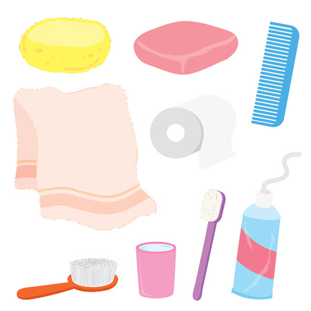 home product: Bathroom stuffs product home decoration household object Cartoon Vector Illustration