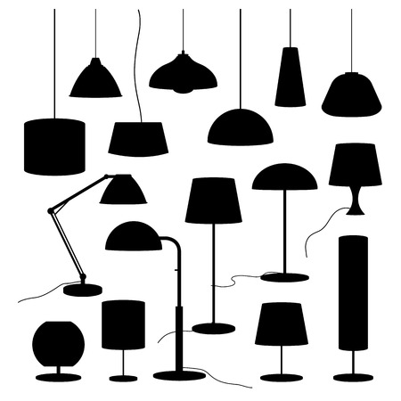 lamp shade: A set of silhouettes of household lamps and floor lamps Vector