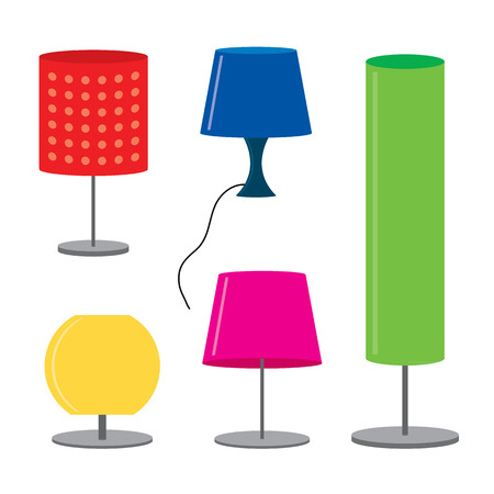 table lamps: Set of lamp Furniture table lamps Vector illustration Illustration