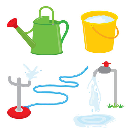 sprinkle: Gardening equipment watering can faucet water sprinkle vector