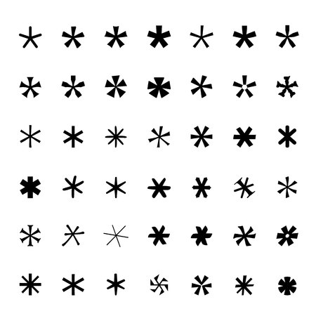 passcode: Asterisk (footnote, star) icons set Black icons isolated Vector illustration
